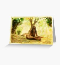 Yoga meditation by the tree Greeting Card
