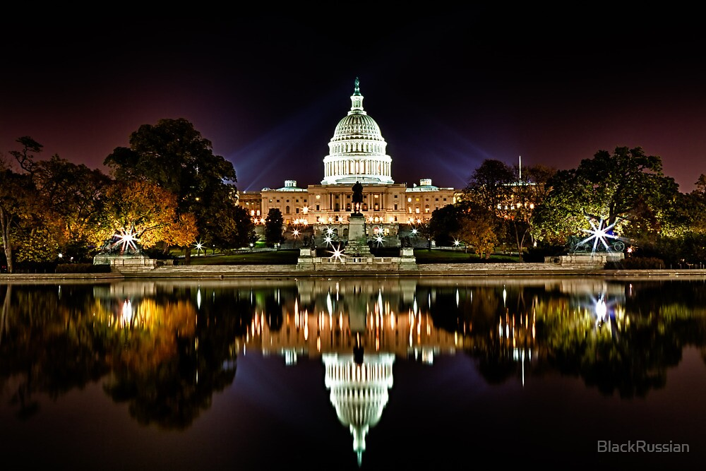 US Capitol Building at Night by BlackRussian