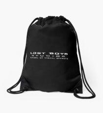 Lost Boys Studios - Small White Text Drawstring Bag
