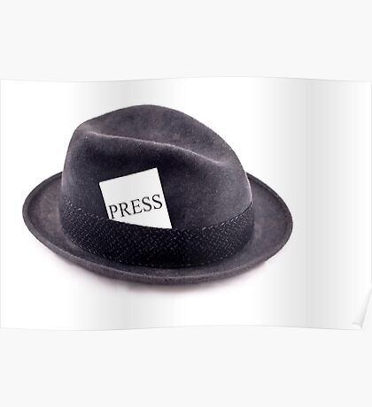 A photojournalist fedora hat with press card Poster