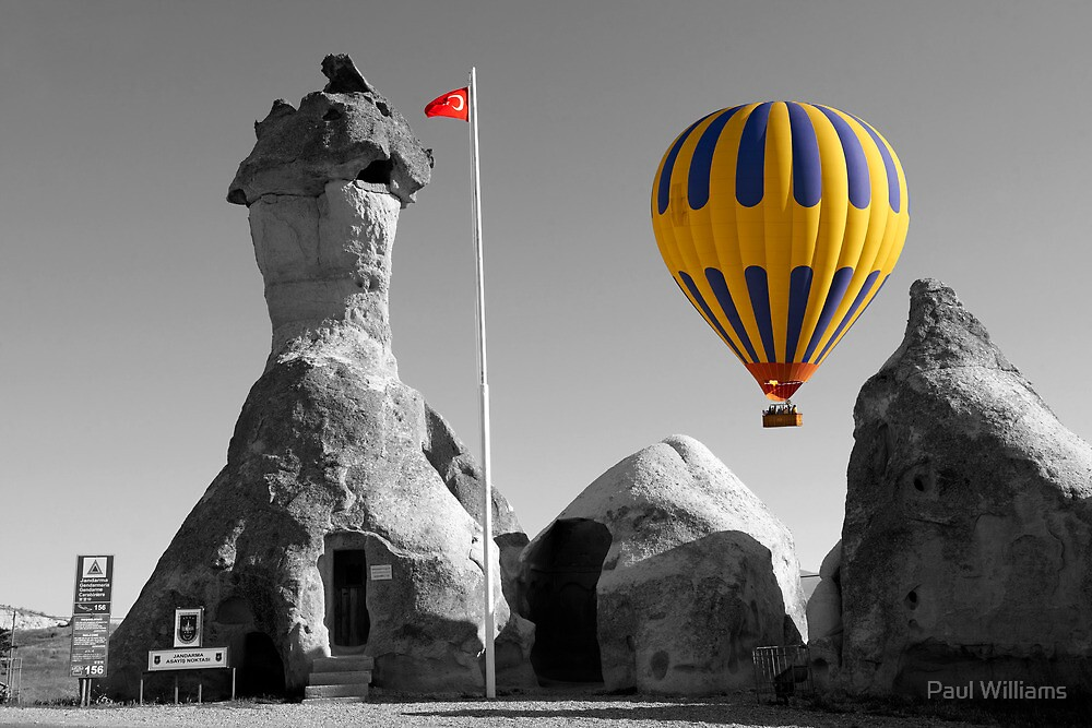 Hot Air Balloons Over Police Station Capadoccia Turkey -  by Paul Williams