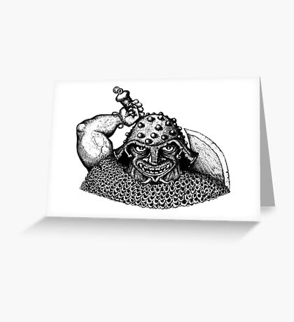 Fantasy Viking black and white pen ink drawing Greeting Card
