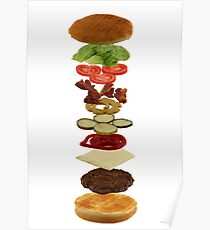 Isometric exploded view of hamburger ingredients Poster