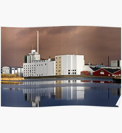 Harbour Building with reflections Poster