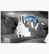 'Blue Domes' - Greek Orthodox Churches of the Greek Cyclades Islands - 2 Poster