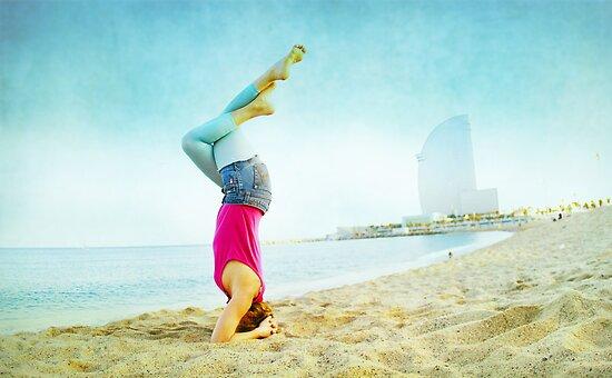 Yoga in the beach, Barcelona by Wari Om  Yoga Photography