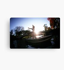 Acroyoga in the lake, central park, new york Canvas Print