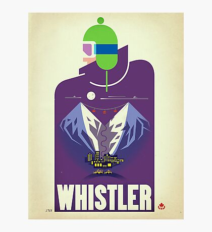 """Full Moon"" Whistler, BC Travel Poster Photographic Print"