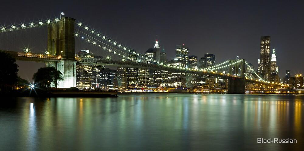 Brooklyn Bridge at Night Panorama 4 by BlackRussian