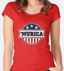 'MURICA T-Shirt. America. Jesus. Freedom. - The Campaign Women's Fitted Scoop T-Shirt