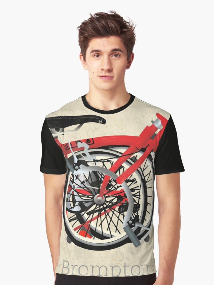 Brompton Bicycle Folded Graphic T-Shirt Front