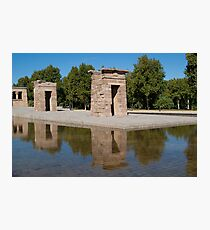 Egyptian temple in Madrid is reflected in surrounding transparent water Photographic Print