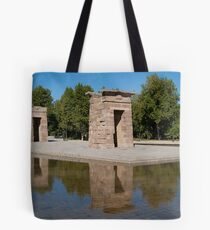 Egyptian temple in Madrid is reflected in surrounding transparent water Tote Bag