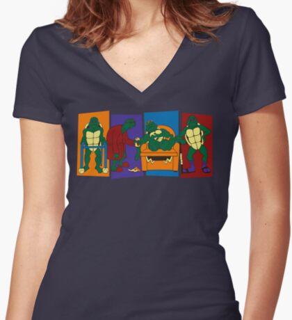 Elderly Mutant Retired Turtles Women's Fitted V-Neck T-Shirt