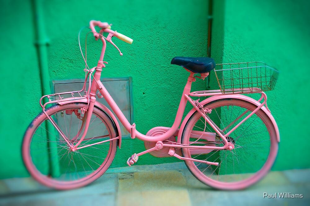 Pink Bike - Burano, Venice Italy  by Paul Williams