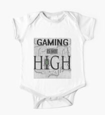 Gaming is my HIGH- Black text/Background One Piece - Short Sleeve