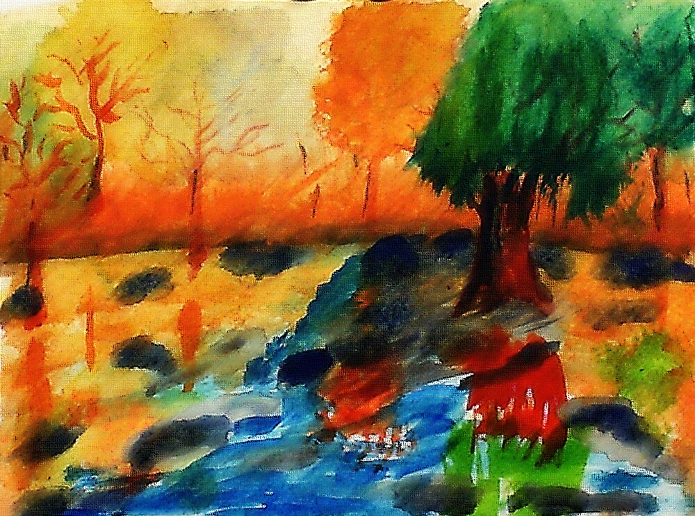 Fall in the woods, watercolor by Anna  Lewis, blind artist