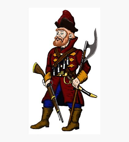 Russian Strelets (musketeer) cartoon drawing art Photographic Print