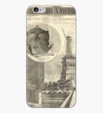 Vinilo o funda para iPhone Construction of The Statue of Liberty Illustration