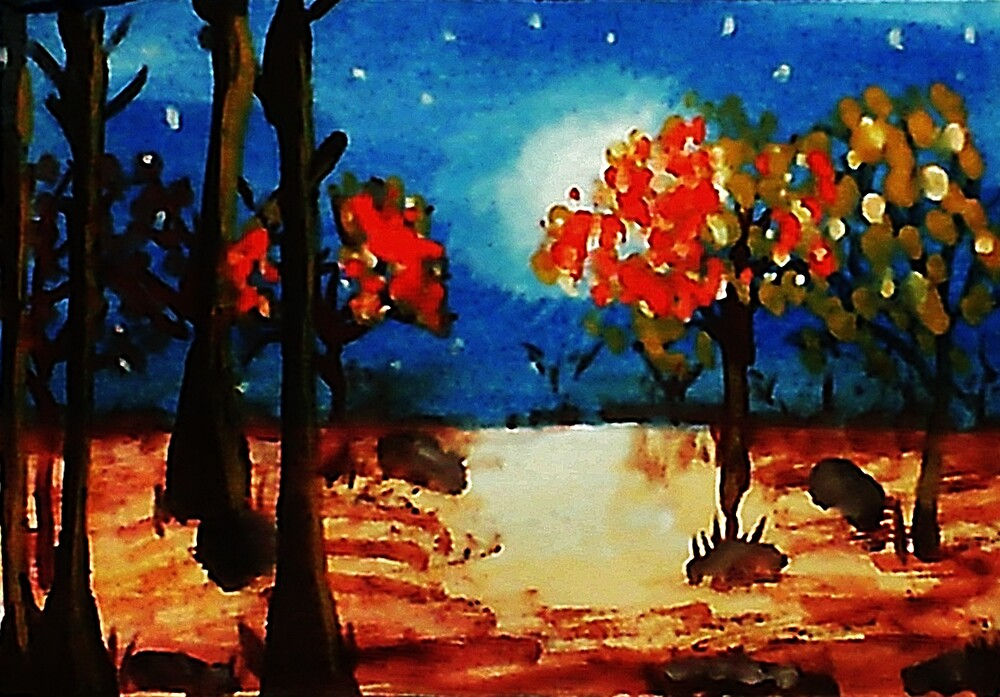 Fall in the moonlight, watercolor by Anna  Lewis, blind artist