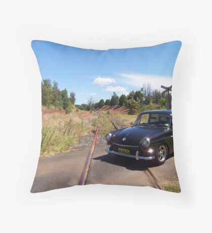 VW Squareback at Railway Crossing Throw Pillow
