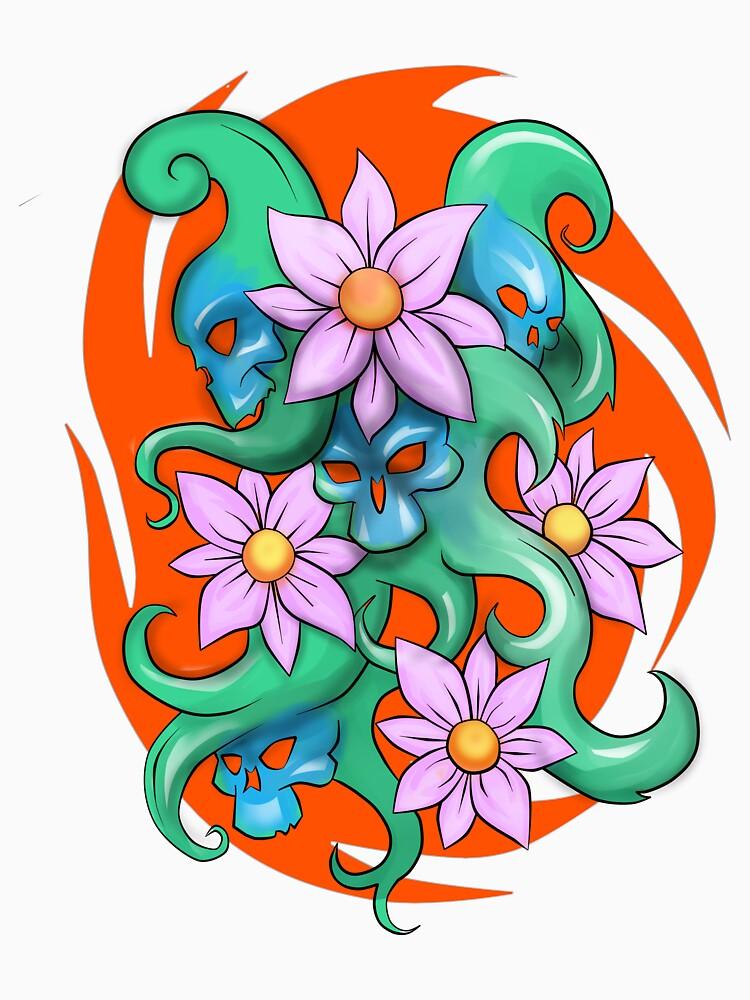 skull and flowers by abracren