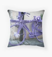 Lavender bicycle Throw Pillow