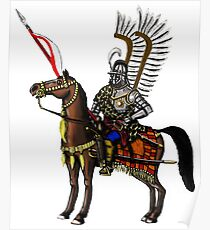 Polish Winged Hussar cartoon art drawing Poster