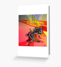 Wounded Cyborg in Laser Cross-Fire Greeting Card