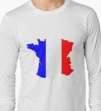 France Flag and  Map Long Sleeve T-Shirt