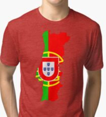 Portugal Flag and Map Tri-blend T-Shirt