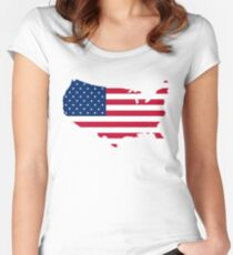 United States Flag and Map Women's Fitted Scoop T-Shirt