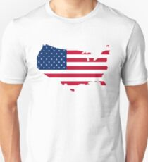 United States Flag and Map Unisex T-Shirt