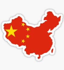 China Flag and Map Sticker