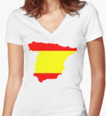 Spain Flag and Map Women's Fitted V-Neck T-Shirt