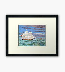 Sailing ship in Table Bay off Cape Town, South Africa Framed Print