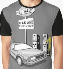 Back to the Future Delorean 'Hill Valley Gas Station' Graphic T-Shirt