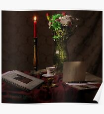 Red Candle and Christmas Cards Poster