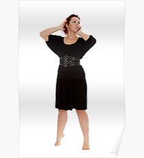 Young girl in black dress on white backgroung Poster