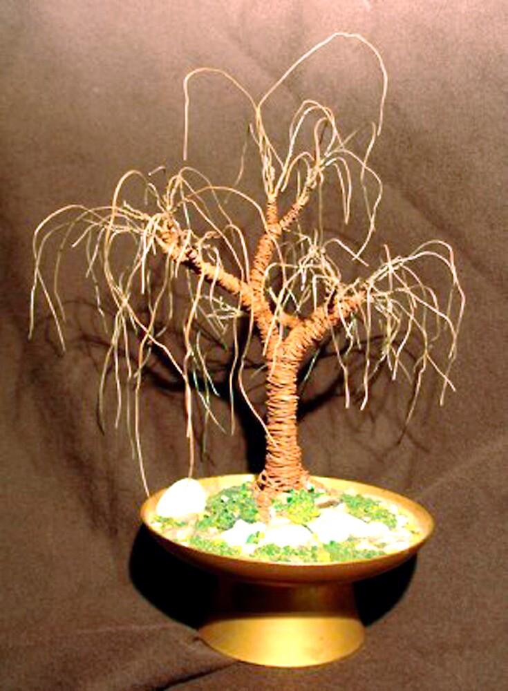 RUSTED OAK  No.2 - Mini Wire Tree Sculpture, by Sal Villano  by Sal Villano