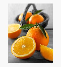 Selective Colour Food Photos of Oranges Photographic Print