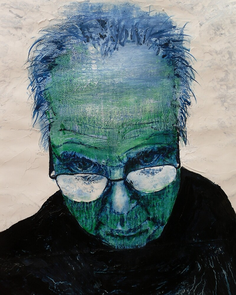 Self portrait with green skin by Harry Kent