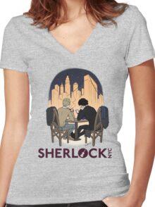 Sherlock NYC - Night (Purple Logo) Women's Fitted V-Neck T-Shirt