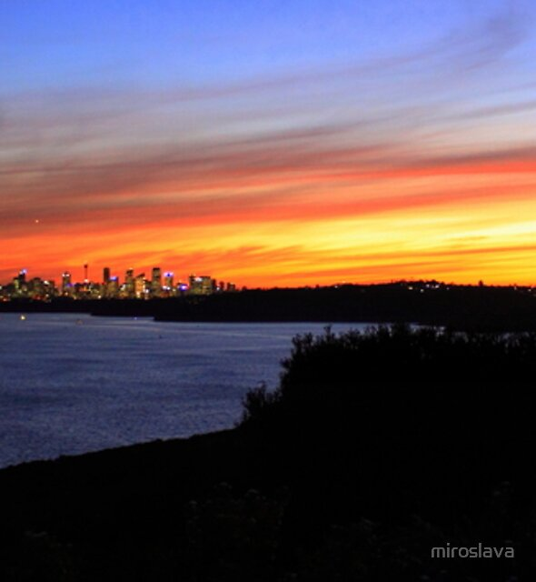 north head manly - city lights in sunset by miroslava
