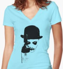 Sinister Chap With Gutter Juice Women's Fitted V-Neck T-Shirt
