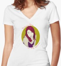 Felicia Day is My Queen Women's Fitted V-Neck T-Shirt