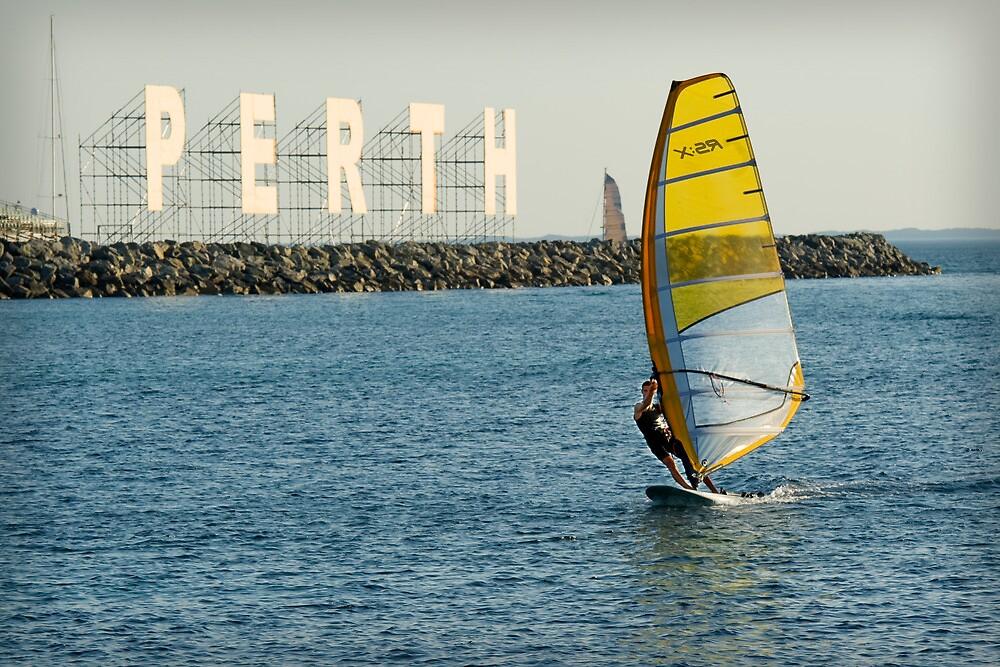 Sailboarding at Bathers Beach by Darren Speedie