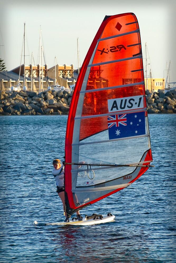 Australian Sailboarder at Bathers Beach by Darren Speedie