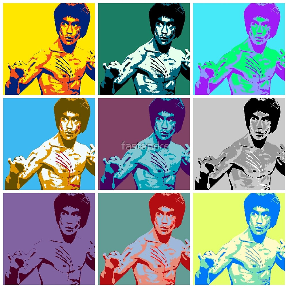 Bruce Lee Way of the Dragon Classic Pose Warhol Pop Art by fastandre
