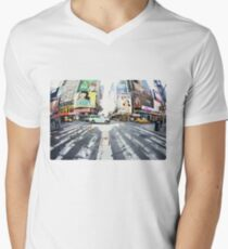 Yoga in Times Square, New York Men's V-Neck T-Shirt